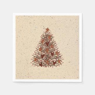 Serviette En Papier Serviettes de papier primitives d'arbre de Noël