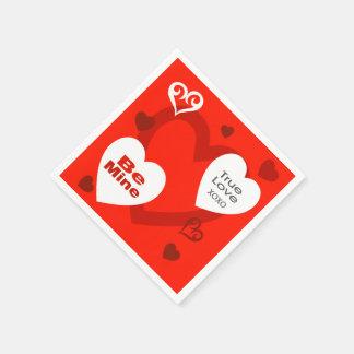 Serviette En Papier Serviettes de partie de coeurs de Saint-Valentin