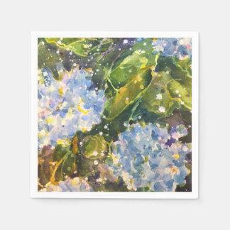 Serviette En Papier Serviettes d'impression d'aquarelle d'hortensia