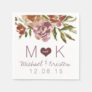 Serviette En Papier Serviettes florales de mariage d'automne de