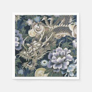 Serviette En Papier Serviettes florales de motif de dragon asiatique