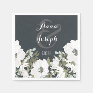 Serviette En Papier Serviettes florales noires et blanches de mariage
