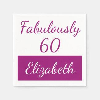 Serviette En Papier soixantième Rose fabuleusement 60 d'anniversaire