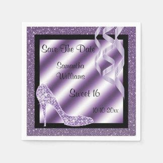 Serviette En Papier Stylet et bonbon lilas élégants 16 à flammes