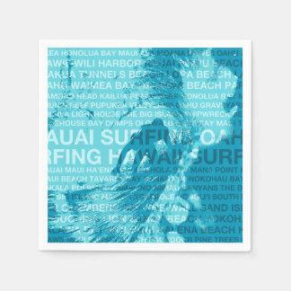 Serviette En Papier Surfer vert surfant de Hawaïen de pièce d'Hawaï