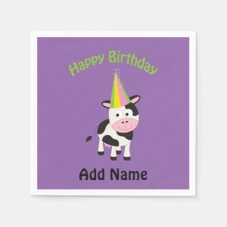 Serviette En Papier Vache à partie de joyeux anniversaire