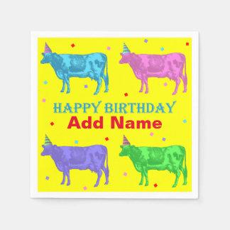 Serviette En Papier Vaches à art de bruit de joyeux anniversaire
