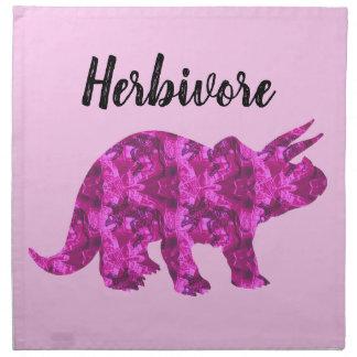 Serviette herbivore de tissu de dinosaure rose