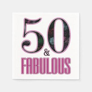 Serviette Jetable 50 et anniversaire de typographie noire rose