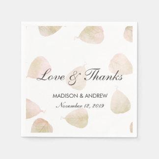 Serviette Jetable Amour et mercis de feuille d'aquarelle du mariage