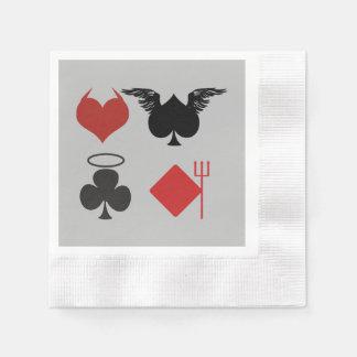 Serviette Jetable Ange et costumes de carte de diable gris