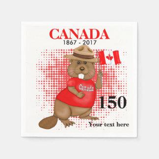Serviette Jetable Anniversaire fièrement canadien du castor 150