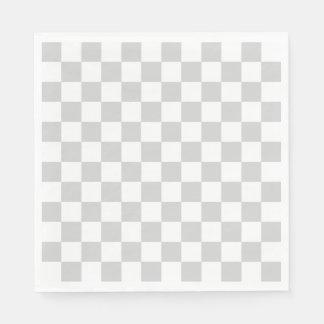 Serviette Jetable Argent Checkered et blanc
