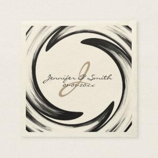 Serviette Jetable Art abstrait #2 de remous de noir de monogramme