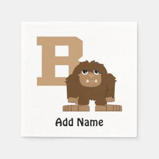 Serviette Jetable B est pour Bigfoot