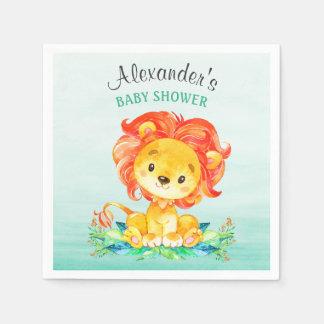 Serviette Jetable Baby shower de lion d'aquarelle