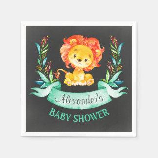 Serviette Jetable Baby shower de lion d'aquarelle de tableau