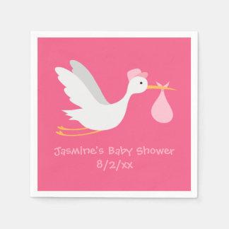 Serviette Jetable Baby shower lunatique de cigogne de fille