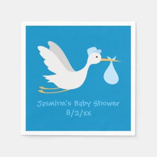 Serviette Jetable Baby shower lunatique de cigogne de garçon