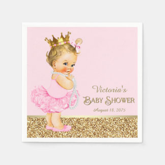 Serviette Jetable Baby shower rose de princesse Ballerina Pink Gold
