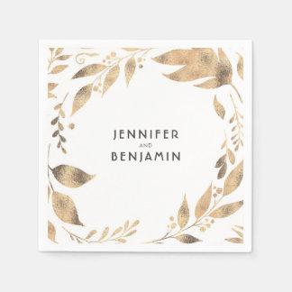 Serviette Jetable Blanc et mariage élégant de feuille d'automne d'or