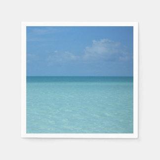 Serviette Jetable Bleu de turquoise tropical d'horizon des Caraïbes