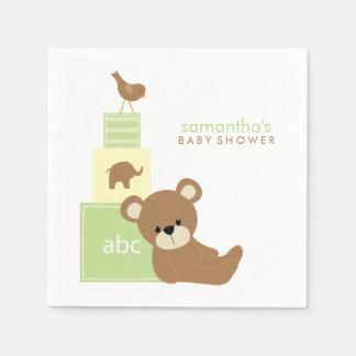 Serviette Jetable Blocs mignons de jouet d'ours et d'alphabet