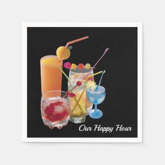 Serviette Jetable Boissons de cocktail d'heure heureuse