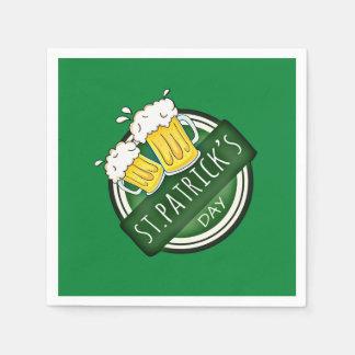 Serviette Jetable Bouclier heureux vert de Jour de la Saint Patrick