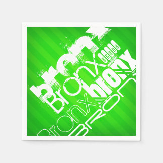 Serviette Jetable Bronx ; Rayures vertes au néon