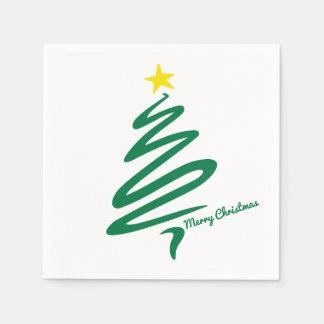 Serviette Jetable Bruissement moderne et minimaliste d'arbre de Noël