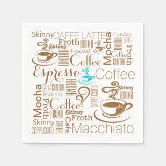 Serviette Jetable Brun bleu de collage de café