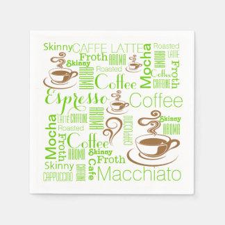 Serviette Jetable Brun de vert de collage de café