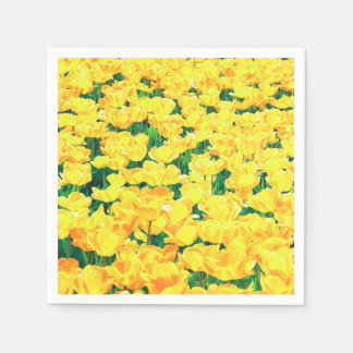 Serviette Jetable Champ de tulipe - jaune d'or