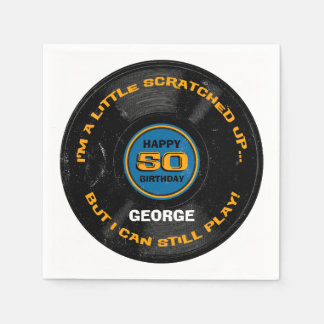 Serviette Jetable Cinquantième anniversaire rayé de disque