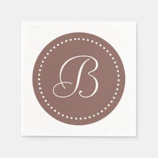 Serviette Jetable Cognac Brown/monogramme blanc de point