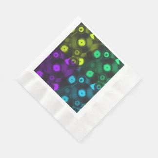 Serviette Jetable Collage coloré au néon de rétros disques