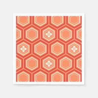 Serviette Jetable Copie hexagonale de kimono, mandarine