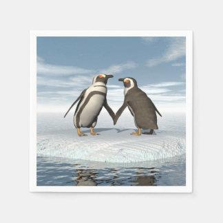 Serviette Jetable Couples de pingouins