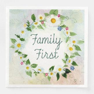 Serviette Jetable De famille citation inspirée d'abord