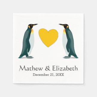 Serviette Jetable Deux coeur jaune | des pingouins | épousant
