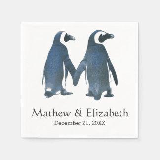 Serviette Jetable Deux mariage romantique mignon des pingouins |