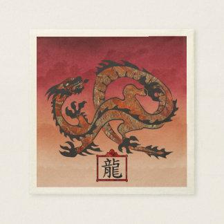 Serviette Jetable Dragon rouge chanceux, 龙