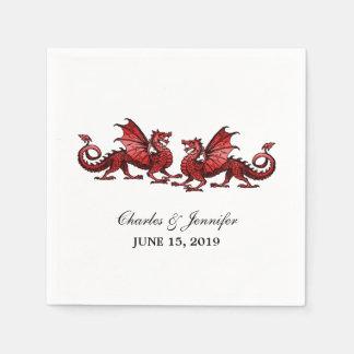 Serviette Jetable Dragons élégants rouges épousant les serviettes de