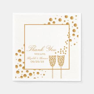 Serviette Jetable Épouser de bulles de Champagne d'or