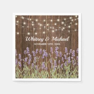 Serviette Jetable Épouser floral de lumières de lavande rustique de