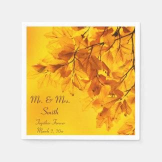 Serviette Jetable Feuille d'automne jaune épousant des serviettes