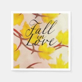 Serviette Jetable Feuille jaune d'érable d'automne peint par