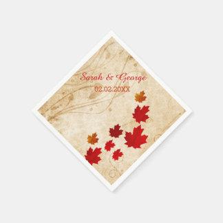 Serviette Jetable Feuille rustique d'érable, serviettes de papier de
