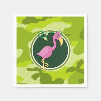 Serviette Jetable Flamant rose ; camo vert clair, camouflage